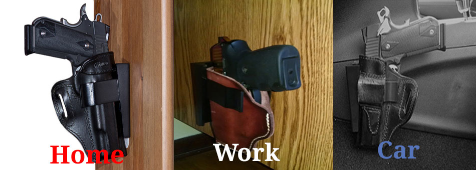 Holster Rests - Nightstand Gun Mount, Desk Gun Mount and Car Gun Mount